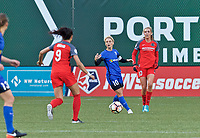Portland, OR - Saturday May 06, 2017: Jess Fishlock, Allie Long during a regular season National Women's Soccer League (NWSL) match between the Portland Thorns FC and the Chicago Red Stars at Providence Park.