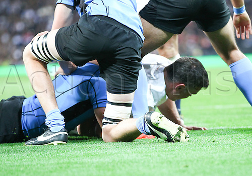 10.10.2015. Etihad Stadium, Manchester, England. Rugby World Cup. England versus Uruguay.  Nick Easter scores a try for England.