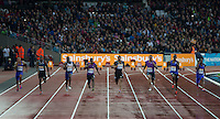 Heat 1 of the 100m won by Kemar Bailey-Cole (2nd right) of Jamaica (100m) during the Sainsburys Anniversary Games at the Olympic Park, London, England on 24 July 2015. Photo by Andy Rowland.