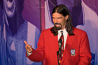 Former U. S. Men's National Team member, and MLS pioneer, Marcelo Balboa speaks at the National Soccer Hall of Fame Induction Ceremony. Balboa was a elected to the Hall in his first year of eligibility. Wright Soccer Campus, Oneonta, NY, on August  29, 2005.