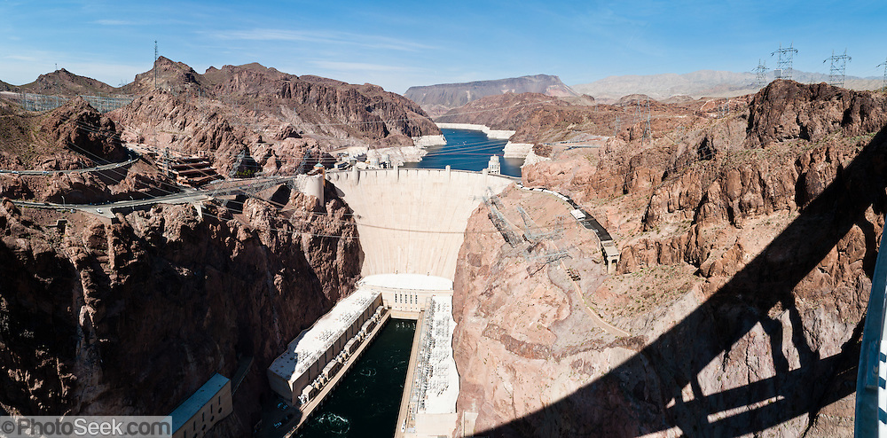 Hoover Dam, once known as Boulder Dam, is a concrete arch-gravity