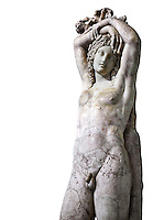 Statue of Narcissus known as The Marazin Hermaphrodite or The Genie at Eternal Rest - a 3rd century AD Roman marble statue. The restoration combines an ancient  funeral head with another ancient Roman statue. The Mazarin Collection Inv No. MR 207 or Ma 435, Louvre Museum, Paris.