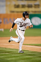 Frederick Keys third baseman Collin Woody (21) runs home during the second game of a doubleheader against the Lynchburg Hillcats on June 12, 2018 at Nymeo Field at Harry Grove Stadium in Frederick, Maryland.  Frederick defeated Lynchburg 8-1.  (Mike Janes/Four Seam Images)