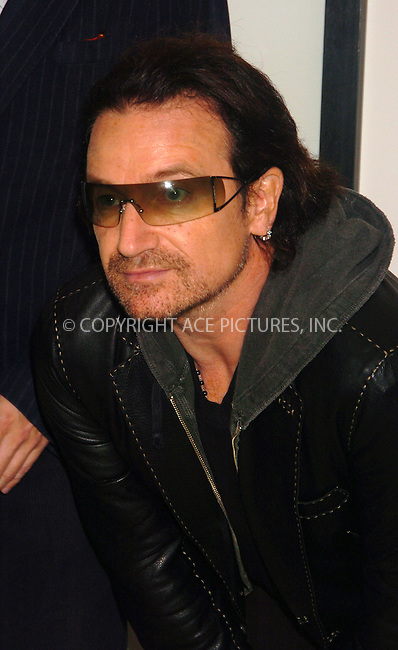 WWW.ACEPIXS.COM . . . . .  ....NEW YORK, OCTOBER 9, 2005....Bono attends the opening of Anton Corbijn's photo exhibition which shows a 22 year relationship with U2 at Stellan Holm Gallery.....Please byline: AJ Sokalner - ACE PICTURES..... *** ***..Ace Pictures, Inc:  ..Craig Ashby (212) 243-8787..e-mail: picturedesk@acepixs.com..web: http://www.acepixs.com