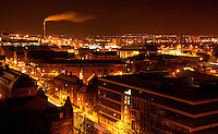 Nottingham Skyline at Night in Winter taken from Castle Rock, Nottingham Castle looking North with old British Waterways building in shot