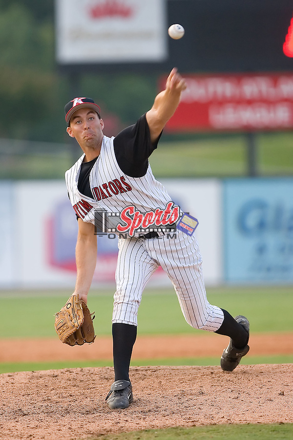 Relief pitcher Eric Stephenson (26) of the Kannapolis Intimidators in action at Fieldcrest Cannon Stadium in Kannapolis, NC, Sunday July 20, 2008. (Photo by Brian Westerholt / Four Seam Images)