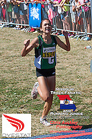 Ste. Genevieve (MO) High School sophomore Taylor Werner pumps her arms just before crossing the finish line to win the Forest Park Cross Country Festival's Varsity Green race in a new meet record of 16:47, Saturday, September 14 in St.Louis' Forest Park. Werner bettered her meet record from last year of 16:59, and beat the competiton by 50 seconds.