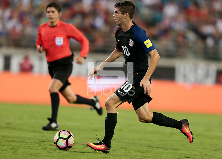 Jacksonville, FL - September 6, 2016: The U.S. Men's National team go up 3-0 over Trinidad & Tobago with Christian Pulisic contributing an assist during a World Cup Qualifier (WCQ) match at EverBank Field.