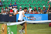 June 16th 2017, Nottingham, England; ATP Aegon Nottingham Open Tennis Tournament day 5;  Thomas Fabbiano of Italy plays a volley on his way to victory over Sergiy Stakhovsky of Ukraine in three sets; Fabbiano won 4-6, 6-2, 7-6(5)
