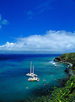 Honolua bay, North shore, w/ sailboats, Maui