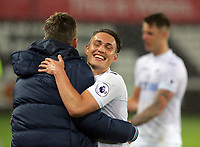 Pictured: Connor Roberts of Swansea City celebrates his team's win after the game Monday 15 May 2017<br />