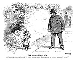 """The Suspected Sex. Girl (suddenly noticing policeman). """"I fahnd it like that. I never done it, mister; Straight I never!"""""""