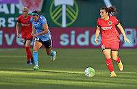 Portland, Oregon - Saturday July 2, 2016: Portland Thorns FC forward Hayley Raso (21) controls the ball during a regular season National Women's Soccer League (NWSL) match at Providence Park.
