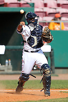 Detroit Tigers catcher Luis Sanz #18 throws to first during a spring training exhibition game against the Nederlands National Team at Al Lang Field on March 8, 2012 in St. Petersburg, Florida.  (Mike Janes/Four Seam Images)