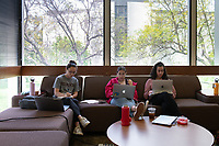 Occidental College students study for finals and write papers during finals week in the Academic Commons/Mary Norton Clapp Library, Monday, May 6, 2019.<br /> (Photo by Marc Campos, Occidental College Photographer)