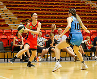 29th December 2019; Bendat Basketball Centre, Perth, Western Australia, Australia; Womens National Basketball League Australia, Perth Lynx versus Canberra Capitals; Katie Ebzery of the Perth Lynx looks to drive past Gemma Potter of the Canberra Capitals - Editorial Use