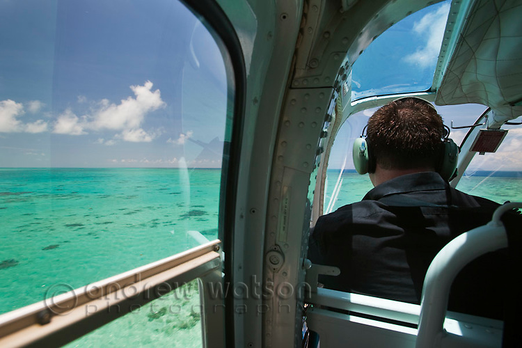 Helicopter flight over the reef near Cairns.  Great Barrier Reef Marine Park, Queensland, Australia