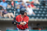 Kevin Newman (3) of the Indianapolis Indians at bat against the Columbus Clippers at Huntington Park on June 17, 2018 in Columbus, Ohio. The Indians defeated the Clippers 6-3.  (Brian Westerholt/Four Seam Images)