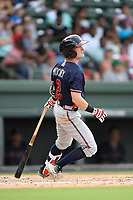 Shortstop Marcus Mooney (2) of the Rome Braves bats in a game against the Greenville Drive on Sunday, August 13, 2017, at Fluor Field at the West End in Greenville, South Carolina. Greenville won, 2-1. (Tom Priddy/Four Seam Images)