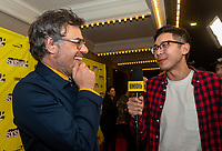 """AUSTIN, TX- MARCH 8: Jemaine Clement is interviewed by Ian de Borja with IMBD as he attends the SXSW world premiere of FX's """"What We Do in the Shadows"""" at the Paramount Theater on March 8, 2019 in Austin, Texas. (Photo by Stephen Spillman/FX/PictureGroup)"""