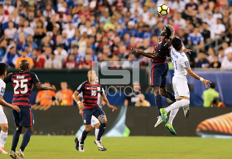 Philadelphia, PA - Wednesday July 19, 2017: Gyasi Zardes, Bryan Tamacas during a 2017 Gold Cup match between the men's national teams of the United States (USA) and El Salvador (SLV) at Lincoln Financial Field.