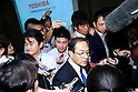 Masashi Muromachi, President and Chief Executive Officer of Toshiba Corp., answers questions from the press after a news conference on September 7, 2015, Tokyo, Japan. Toshiba fell into the red for the first time in five years after announcing corrections to its net balance of more than 155 billion yen ($1.3 billion) in its delayed earnings report. The corrections are a result of padding earnings over a seven year period of accounting irregularities. (Photo by Rodrigo Reyes Marin/AFLO)