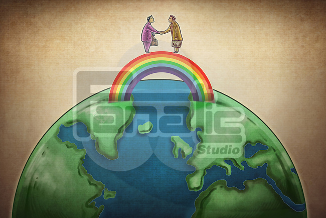 Illustrative image of business people shaking hands on rainbow above globe