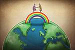 Illustrative image of business people shaking hands on rainbow above globe