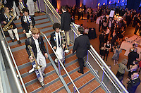 Yale Precision Marching Band entering Lanman Center at the Blue Leadership Ball 2011. Yale University Athletics. Ball and Awards Presentation, Lanman Center, Payne Whitney Gymnasium.