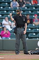 Home plate umpire Ryan Wilhelms makes a strike call during the Carolina League game between the Buies Creek Astros and the Winston-Salem Dash at BB&T Ballpark on April 13, 2017 in Winston-Salem, North Carolina.  The Dash defeated the Astros 7-1.  (Brian Westerholt/Four Seam Images)