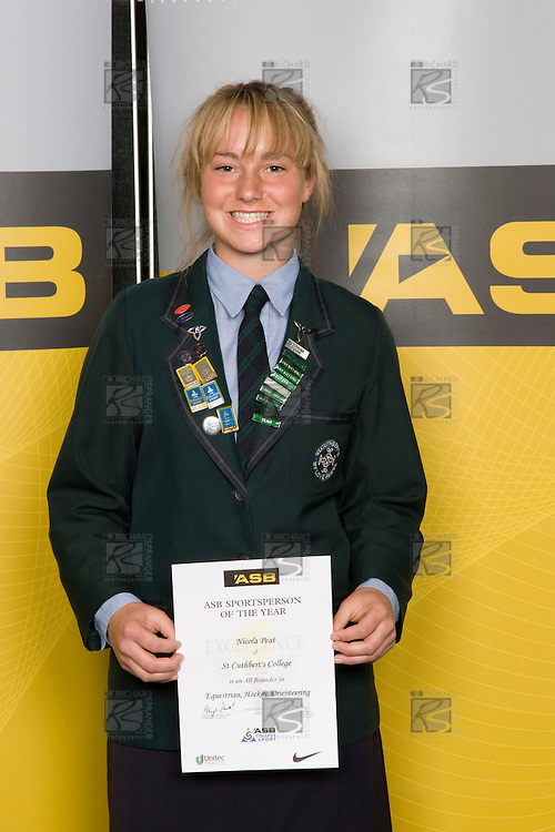 All Rounder category winner Nicola Peat from St Cuthberts College. ASB College Sport Young Sportperson of the Year Awards 2008 held at Eden Park, Auckland, on Thursday November 13th, 2008.