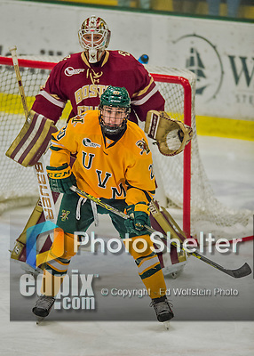 19 February 2016: University of Vermont Catamount Forward Brendan Bradley, a Junior from Warminster, PA, in third period action against the Boston College Eagles at Gutterson Fieldhouse in Burlington, Vermont. The Eagles defeated the Catamounts 3-1 in the first game of their weekend series. Mandatory Credit: Ed Wolfstein Photo *** RAW (NEF) Image File Available ***