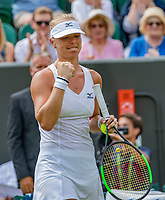 London, England, 9 th. July, 2018, Tennis,  Wimbledon, Womans single fourth round: Kiki Bertens (NED) celebrates matchpoint in her match against Karolina Pliskova (CZE)<br /> Photo: Henk Koster/tennisimages.com