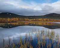 Small mountain lake in autumn, near Tärnasjön, Kungsleden trail, Lapland, Sweden