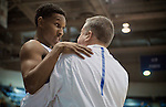 February 4, 2017:  Air Force forward, Lavelle Scottie #12, talks with Falcon head coach, Dave Pilipovich, during the NCAA basketball game between the Wyoming Cowboys and the Air Force Academy Falcons, Clune Arena, U.S. Air Force Academy, Colorado Springs, Colorado.