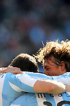 Argentina celebrate a goal during the 2010 World Cup Soccer match between Argentina vs Korea Republic played at Soccer City in Johannesburg, South Africa on 17 June 2010.
