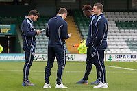 Wycombe players inspect the pitch ahead of the Sky Bet League 2 match between Yeovil Town and Wycombe Wanderers at Huish Park, Yeovil, England on 8 October 2016. Photo by Mark  Hawkins / PRiME Media Images.
