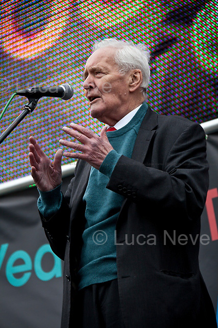 London, 14/03/2014. Tony Benn, former Labour cabinet minister and leading left-wing campaigner, has died at home aged 88.<br /> <br /> London, 08/10/2011. Today Trafalgar Square was the stage of the &ldquo;Antiwar Mass Assembly&rdquo; organised by The Stop The War Coalition to mark the 10th Anniversary of the invasion of Afghanistan. Thousands of people gathered in the square to listen to speeches given by journalists, activists, politicians, trade union leaders, MPs, ex-soldiers, relatives and parents of soldiers and civilians killed during the conflict, and to see the performances of actors, musicians, writers, filmmakers and artists. The speakers, among others, included: Jeremy Corbin (Labour MP, elected member of the Stop the War Coalition steering committee), Joe Glenton (British Army Lance Corporal and war resister, imprisoned for refusing to fight in Afghanistan), Seumas Milne (British journalist and writer, columnist and associate editor at The Guardian), Brian Eno (English musician, composer, record producer, singer and visual artist), Sukri Sultan and Shadia Edwards-Dashti (students against the war), Hetty Bower (106-year-old anti-war campaigner), Mark Cambell (University &amp; College Union), Sanum Ghafoor (Activist Video Blogger), Andrew Murray (deputy president of the Stop the War Coalition), Lauren Booth (English broadcaster, journalist and pro-Palestinian activist), Kate Hudson (UK academic and political activist, currently the General Secretary of the Campaign for Nuclear Disarmament), Sami Ramadani (senior lecturer in sociology at London Metropolitan University and once political refugee of Saddam Hussein&rsquo;s regime), Yvone Ridley (British journalist, war correspondent and Respect Party activist), Mark Rylance (English actor, theatre director and playwright), Dave Randall (Faithless and Slovo guitarist, producer and composer), Roger Lloyd-Pack (English actor), Rebecca Thorn (Singer and musician), Sanasino al Yemen (Spoken word artist and poet), Elvis McGonagall (Scottish p