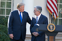 President of the United States Donald J. Trump and his nominee for United States Federal Reserve Chairman Jerome Powell in the Rose Garden after a press conference at the White House in Washington, D.C. on November 2nd, 2017. Credit: Alex Edelman / CNP /MediaPunch
