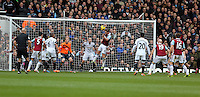 Pictured: Kevin Nolan of West Ham (C) scoring his second goal with a header. 01 February 2014<br />