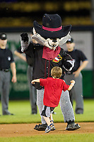 Rascal the River Bandit has a dance off with a small fan during the Midwest League All-Star Game at Modern Woodmen Park on June 21, 2011 in Davenport, Iowa. (David Welker / Four Seam Images)