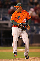 March 2, 2010:  Pitcher Daniel Miranda of the Miami Hurricanes during a game at Legends Field in Tampa, FL.  Photo By Mike Janes/Four Seam Images