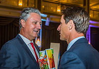 The Hague, The Netherlands, September 13, 2017,  Sportcampus , Davis Cup Netherlands - Chech Republic, Official Dinner, Captains exchanging presents, left Navratil (CZE) and right Paul Haarhuis (NED)<br /> Photo: Tennisimages/Henk Koster