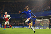 10th January 2018, Stamford Bridge, London, England; Carabao Cup football, semi final, 1st leg, Chelsea versus Arsenal; Marcos Alonso of Chelsea