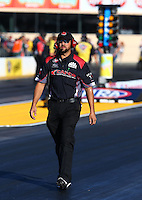 Jul. 26, 2013; Sonoma, CA, USA: NHRA crew member for top fuel dragster driver Steve Torrence during qualifying for the Sonoma Nationals at Sonoma Raceway. Mandatory Credit: Mark J. Rebilas-