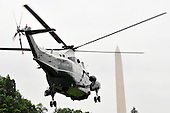 Marine 1, with United States President Barack Obama aboard, departs for Andews AFB on Sunday, May 29, 2011. The President is going to Joplin, Missouri to survey damage caused by last week's deadly tornados that caused at least 139 fatalities. .Credit: Ron Sachs / Pool via CNP