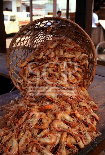 Amapa, Brazil. Large prawns spilling out of a basket in the market at Porto Santana.