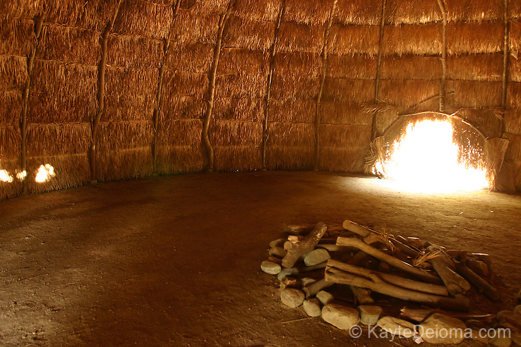 The interior of a Tongva dwelling or Kiche at the recreated Tongva Village at Heritage Park in Santa Fe Springs, CA