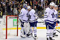 April 25, 2018: Toronto Maple Leafs defenseman Roman Polak (46) and Toronto Maple Leafs goaltender Frederik Andersen (31) react to losing game seven of the first round of the National Hockey League's Eastern Conference Stanley Cup playoffs between the Toronto Maple Leafs and the Boston Bruins held at TD Garden, in Boston, Mass. Boston defeats Toronto 7-4 and wins the best of seven series 4 games to 3 to advance to round two.