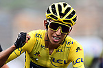 Yellow Jersey Egan Bernal (COL) Team Ineos crosses the finish line knowing that he has won the race overall at the end of Stage 20 of the 2019 Tour de France running 59.5km from Albertville to Val Thorens, France. 27th July 2019.<br /> Picture: ASO/Alex Broadway | Cyclefile<br /> All photos usage must carry mandatory copyright credit (© Cyclefile | ASO/Alex Broadway)